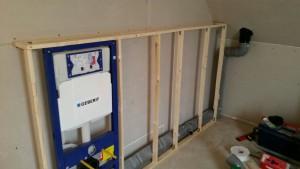 Vorbauwand für WC und Badewanne